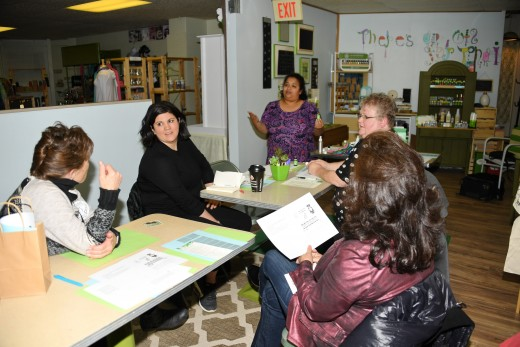 Learning about Essential Oils at the Green Shoppe with owner Julie McClymonds.