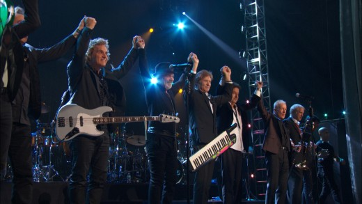 Chicago onstage at the 2016 Rock and Roll Hall of Fame ceremony