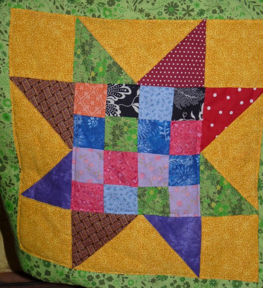 I did the hand quilting on this quilt while on bedrest.
