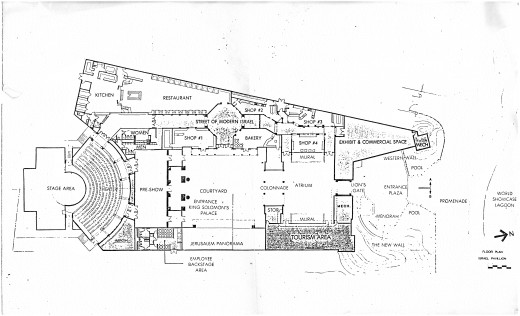 This was the planned layout of the entire Israel Pavilion which was drawn an sketched by famous Disney Artist Herb Ryman.