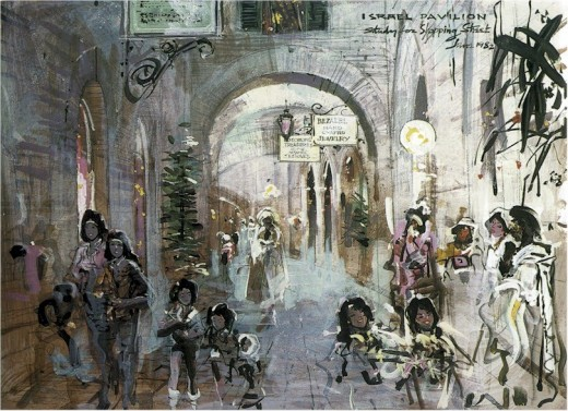An image of the early concept art renderings created by none other Herb Ryman in which this depicts an Israeli street that would have been in the Pavilion