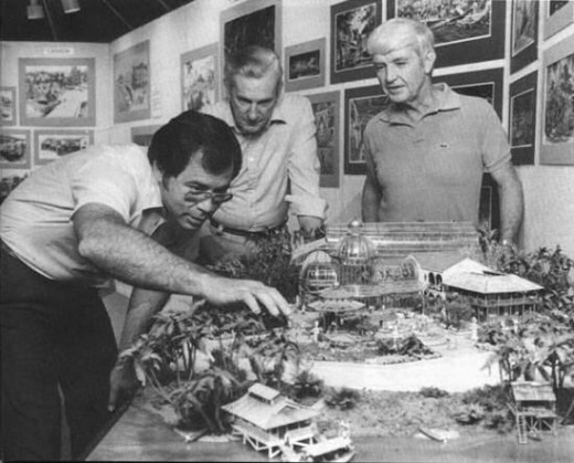 Here in this photo you see the Imagineers busy at work creating the model for the Costa Rica Pavilion