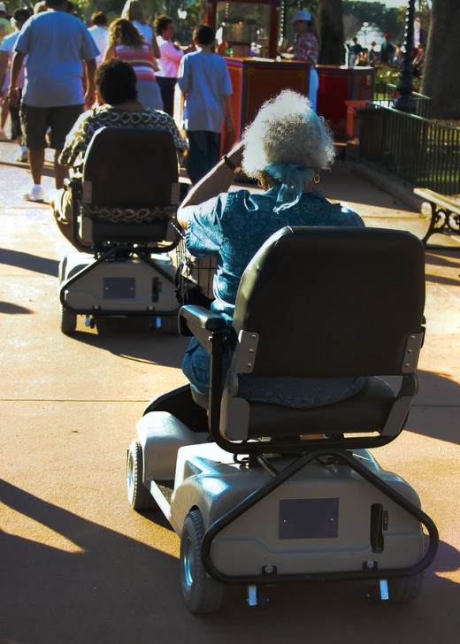 Power chairs and scooters enable the elderly to stay active!