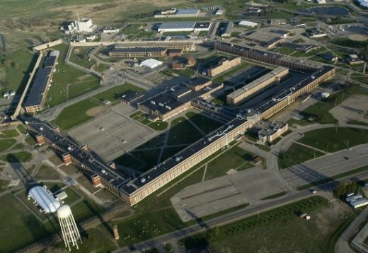 Aerial view of Jackson Prison, showing Cell Block 7