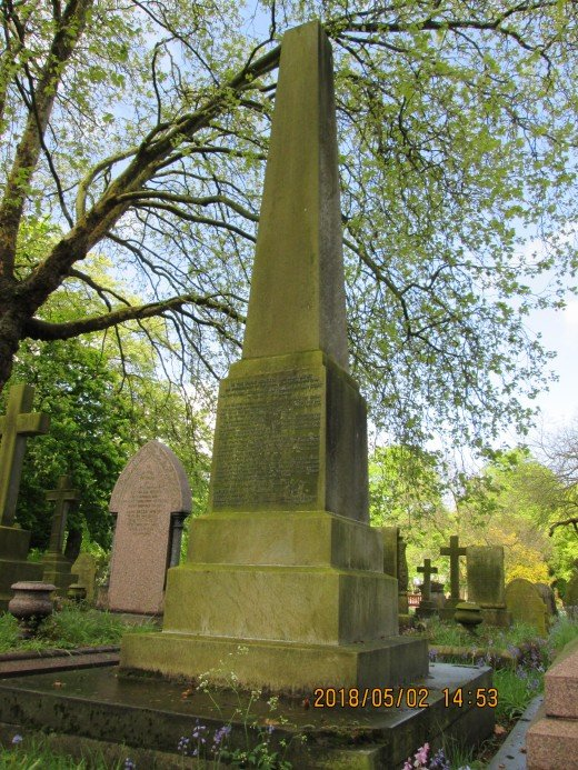 The late parish church of St Antholin, Watling Street that was situated near Queen Victoria Street. In 1875 the church was demolished to make way for social housing. This obelisk was erected in the City of London Cemetery to commemorate its 'passing'
