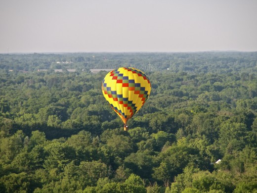 Hot air balloon in flight during Hot Air Jubilee over Jackson