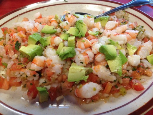 Ceviche made with shrimp instead of halibut.