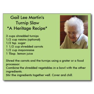I do this so readers can order the postcard size to mail to their friends or keep for their own use when making the recipe. Many times, I'm featuring my mother's heritage recipes on her memory blog.