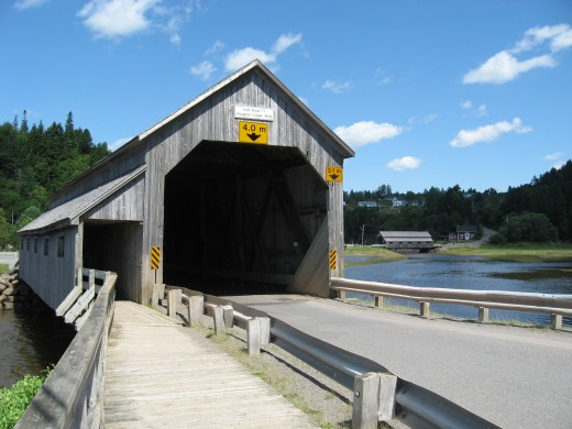 The double view of covered bridges in St. Martin's, New Brunswick.