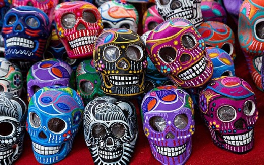 Calaveras, or sugar skulls, are created on the Day of the Dead in Mexico to honor departed ancestors.