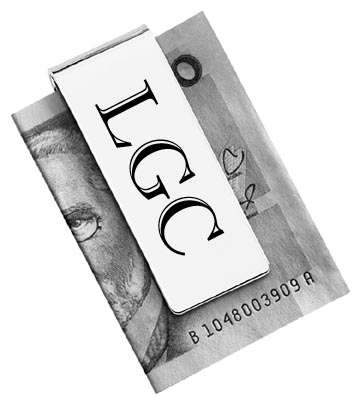 Money clips can be personalized with your initials