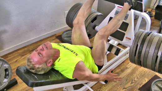 I am doing a leg press with 1100 lbs in this photo. I typically do just one set per workout.