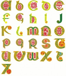 Machine embroidery designs can be elaborate alphabets for monogram applications
