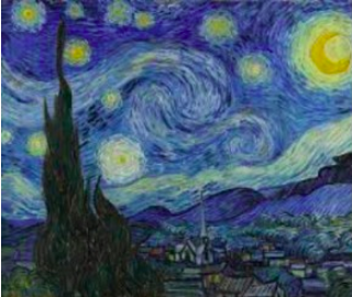 """Starry Night"" - Alive with a vivid swirling night sky, twisting clouds, shining stars.Painted while Vincent was in the asylum. Unlike other paintings this was from his memory."