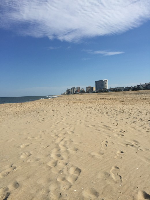 A view of the Virginia Beach Oceanfront from the North End Beach.