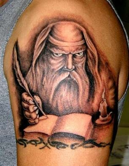 Fantasy tattoo art and designs hubpages for Wizard tattoo designs
