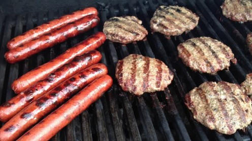 Burgers and hot dogs on the grill