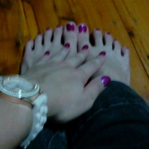 Manicure and pedicure with polish.
