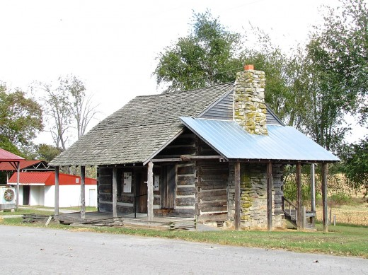 A Cabin which was once located on the farm of John Bell, now adjacent to the Bell School building, in Adams, Tennessee, United States.