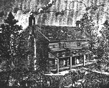 "An illustration of the ninteenth century home of the Bell family of Red River (now Adams), TN. From the novel by M. V. Ingram, ""The Authenticated History of the Bell Witch"" published in 1894."