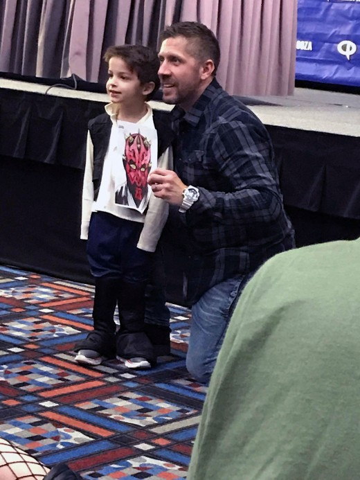 Ray Park and an adoring fan at his Q&A panel at Comicpalooza X in Houston, TX on May 26, 2018.