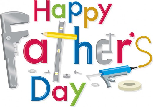 """""""Happy Father's Day"""" is written with all the things a father uses."""