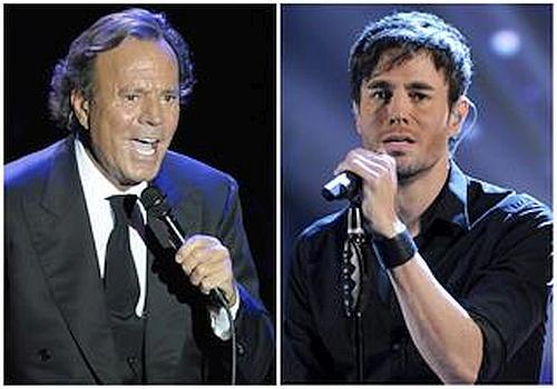 Spanish singer Julio Iglesias and his son Enrique Iglesias