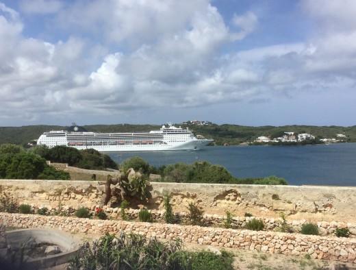 Watching cruise ships sail away from Mahon, Minorca