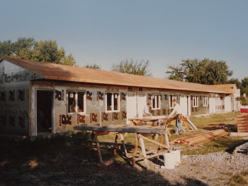 A motel wing under construction