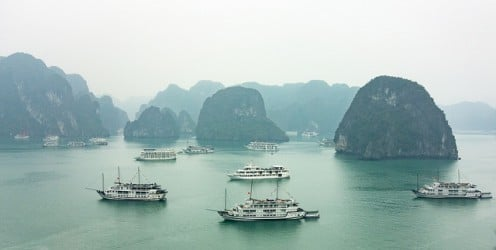 The UNESCO-listed Halong Bay in Vietnam