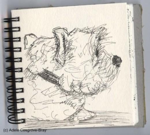 Ink sketch of Ygraine.