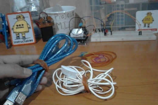 Use rubber bands to kept cords together.