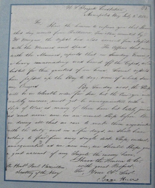 """We shall have nothing to fear from any single deck Ship"". Letter from Captain Isaac Hull to Paul Hamilton July 2, 1812 re status of USS Constitution and crew. NARA Washington D.C., RG45, CL, 1812 Volume 2, No.85."