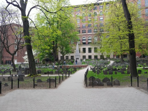 The Granary Burying Ground. Straight ahead is the white obelisk beneath which are buried Benjamin Franklin's parents.