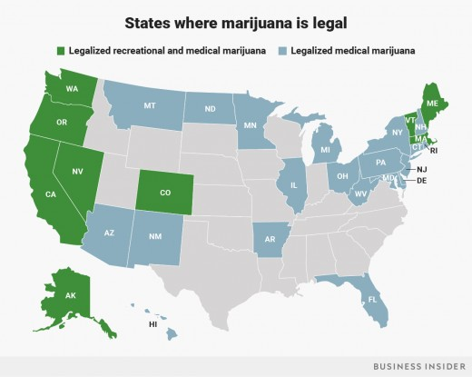 Map of States with Some Form of Legal Marijuana
