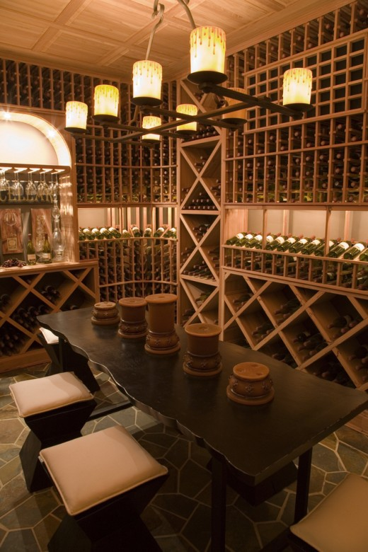 Luxurious wine cellar with fully customized racks.