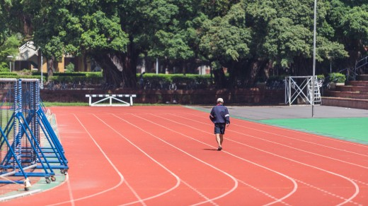 A running track provides a great place to perform the 1.5 mile test