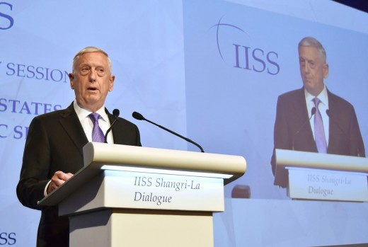 US Defense Secretary James Mattis speak at the Dialogue