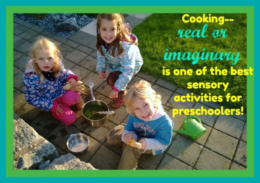 Cooking projects with preschoolers should be simple and easy. Just giving them some pots, pans, and utensils and pointing them outside is a terrific invitation to making some fun imaginary dishes with leaves, sticks, and rocks.