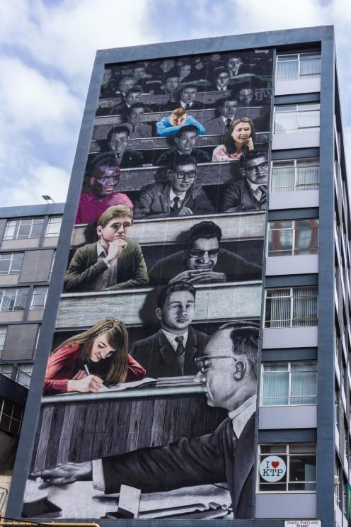 Political Street Art on a University building