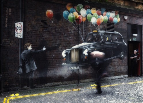 Glasgow Taxi mural at Mitchell Street