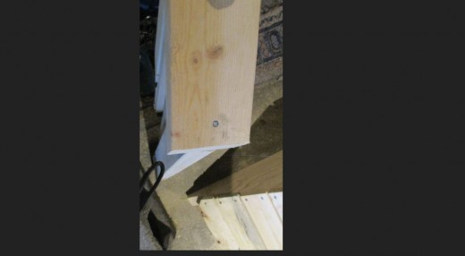Nail into center of hand rail on top side. Two nails on end side rails from the top.