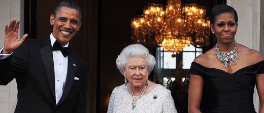 The Queen and Barack and Michele Obama