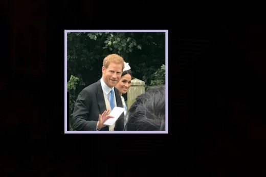 Prince Harry was all smiles for the cameras as he and Meghan made their way to the church for his cousin's wedding.