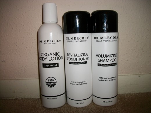 Dr. Mercola body lotion, shampoo, and conditioner