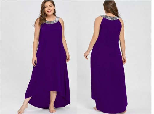 maxi dress with high-low asymmetrical hem and contrasting silver sequin collar