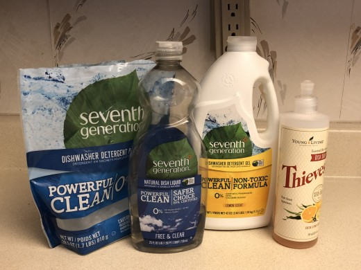 Seventh Generation dishwasher packs, dishwashing liquid, dishwasher gel, and Young Living Thieves dishwashing liquid.