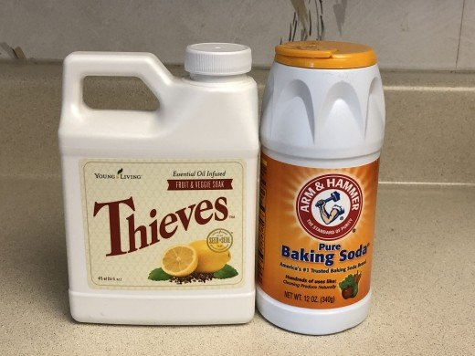 Young Living Thieves wash for fruits and vegetables, and Arm & Hammer baking soda