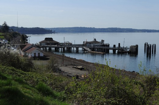 Ferry dock and old, abandoned train station