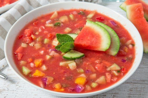Cool off with this Watermelon, Cucumber, Acai Berry Bisque